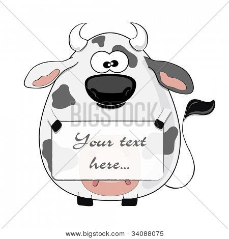 Funny cartoon cow isolated on white background