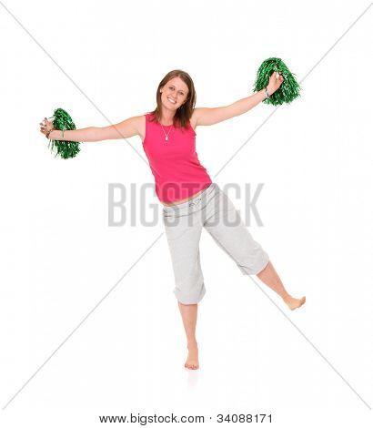 A picture of a young cheerleader posing over white background