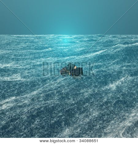 Man afloat on desk in sea of currency