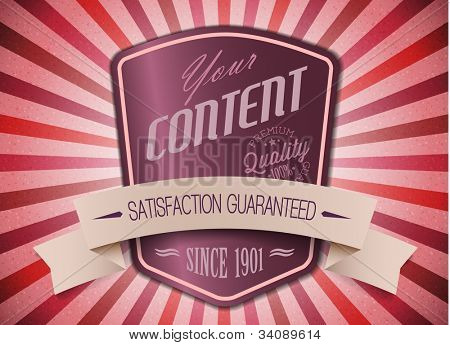 Old purple vector round retro vintage label on sunrays background