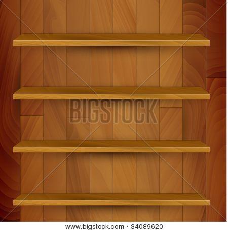 Vector wooden empty realistic bookcase illustration