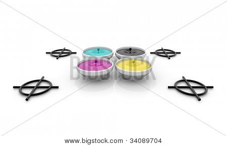 CMYK liquid inks with drop and registration marks, screen printing concept image