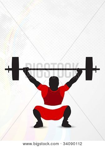 Silhouette of a weight lifter trying to  heavy weight on abstract dotted background with grunge effects. EPS 10.