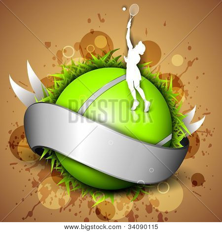Tennis ball icon or element with a shiny grey ribbon, girl player playing with ball on grungy orange background. EPS 10.