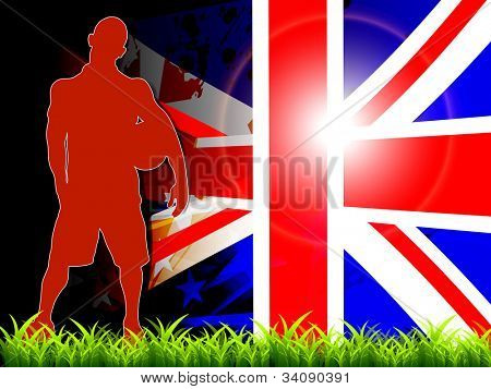 Silhouette of young football player holding soccer ball in hand standing on grass. Vector Illustration EPS10.