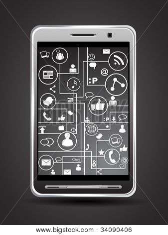Social media network connection and communication in the global, mobile networks with networking icons on grey background. Vector illustration. EPS