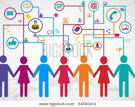 People holding hands under  social media communication icons with arrows on world map background. EPS 10.