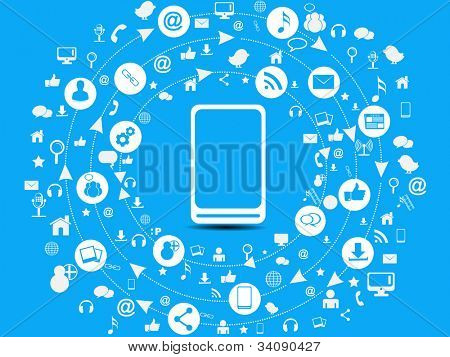 Social media network connection and communication in the global, mobile networks with networking icons on blue background. Vector illustration. EPS