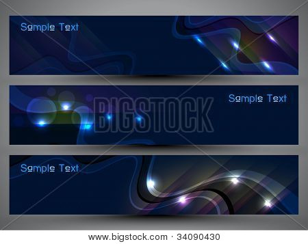 Header or banner set with colorful background, can be easily edit and use for website or blog design. Vector Illustration in EPS 10.