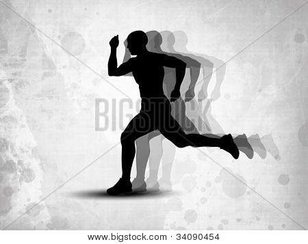 Silhouette of a man athlete running on grungy grey background. EPS 10.