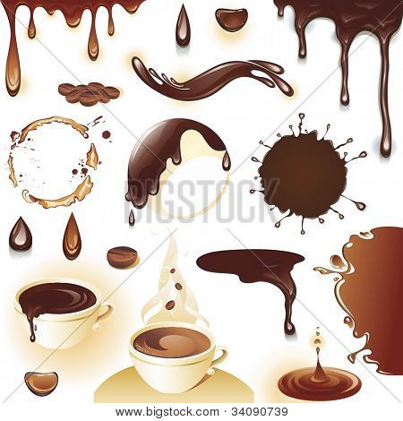 The raster version coffee and chocolate. Set of drops and splashes.