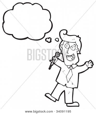 cartoon man with microphone
