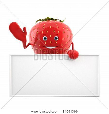 Food character - strawberry