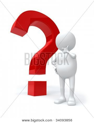 3D white man with red question mark isolated on white background.