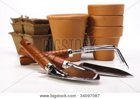 Garden tools on white background
