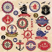 stock photo of ship steering wheel  - Collection of vintage retro nautical labels - JPG