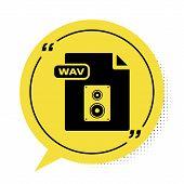 Black Wav File Document. Download Wav Button Icon Isolated On White Background. Wav Waveform Audio F poster