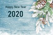 Happy New Years 2020  Card. Happy New Years 2020 Greeting Card Design Concept. 2020 Text, Number. Ha poster