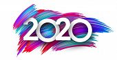 White 2020 New Year Sign With Spectrum Brush Strokes. Illustration Of Colorful Gradient Brush Design poster