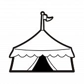 image of circus tent  - Line drawing illustration of a circus tent - JPG