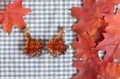 Maple Syrup In A Bottle In A Shape Of Maple Leaf. Red Maple Leaf Background. poster