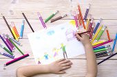 A Child Draws A Birthday Card With His Family. Drawing Made By A Child With Colorful Felt-tip Pens A poster