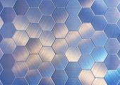 Blue Hexagons, There Are A Lot Of Figures, Silver Objects, Texture Of Metal, A Background From Figur poster