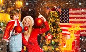 My Dear Baby Santa. Mother And Little Child Boy Adorable Friendly Family Having Fun. Family Having F poster
