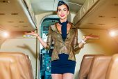Flight Attendant Uniform. Travel Concept. Beautiful Charming Stewardess Dressed In Official Blue Uni poster