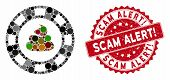 Collage Shit Casino Chip And Distressed Stamp Seal With Scam Alert Question Caption. Mosaic Vector I poster