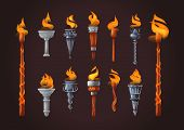 Medieval Realistic Torch With Burning Fire Set. poster