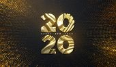Happy New Year 2020. Holiday Nye Event Sign. Vector 3d Illustration. Golden Characters 2020 With Wav poster