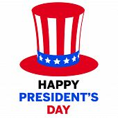 Happy President Day In American Style On White Background. Patriotic Illustration. Blue Abstract Bac poster