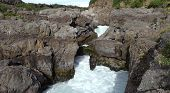 View Of The Barnafoss Waterfall, In Borgarfjordur, Western Iceland. Panoramic View Of Icelandic Land poster