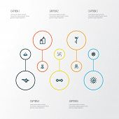 Meditation Icons Colored Line Set With Dumbbell, Lamp, Religion And Other Relaxation Elements. Isola poster