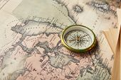 Vintage White Compass On World Map Background poster