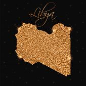 Libya Map Filled With Golden Glitter. Luxurious Design Element, Vector Illustration. poster