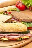 group of long baguette and toasted sandwiches with lettuce, vegetables, salami, ham and cheese on a