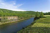 View Of The The Oka Sayan River From A High Steep Bank.east Sayan, Buryatia, Siberia, Russia. poster