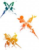 illustration with three butterflies on white background