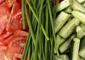 picture of risque  - Fresh tomatoes cucumbers and green onions  - JPG