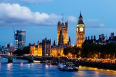 pic of westminster bridge  - Big Ben and Westminster Bridge in the Evening London United Kingdom - JPG