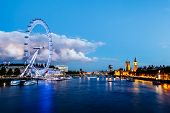 stock photo of london night  - London Eye Westminster Bridge and Big Ben in the Evening London United Kingdom - JPG