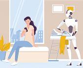 Robot Doing Housework. Robotic Housekeeping. Robot Ironing Cothes. poster