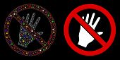 Flare Mesh Do Not Touch Icon With Glare Effect. Abstract Illuminated Model Of Do Not Touch. Shiny Wi poster