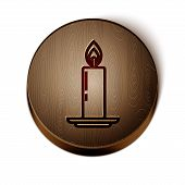Brown Line Burning Candle In Candlestick Icon Isolated On White Background. Old Fashioned Lit Candle poster