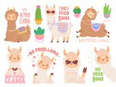 No Prob Llama. Cool Llamas Have No Problems, Wildlife Animals No Problem Quote Illustration Vector S poster