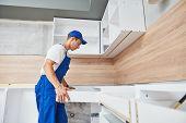 kitchen installation. Worker assembling furniture poster