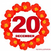December 20 Icon. For Planning Important Day. Banner For Holidays And Special Days With Flowers. Twe poster