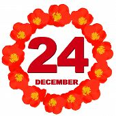 December 24 Icon. For Planning Important Day. Banner For Holidays And Special Days With Flowers. Twe poster